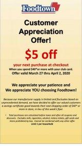 Foodtown Customer Appreciation Starts Friday, March 27th